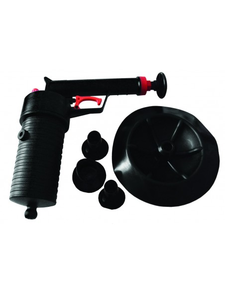 Compressed air unblocker gun with suction cups of various diameters