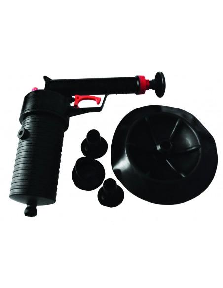 Pistolet déboucheur à air comprimé avec ventouses divers diamètres
