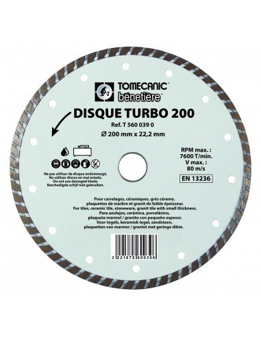 DISQUE DIAMANT TURBO  - Ø 200 MM - AL...